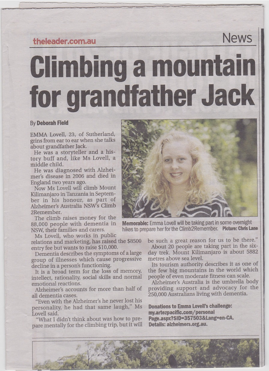 article for charity climb in the leader newspaper