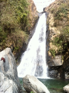 Working next to a beautiful waterfall in Dharamsala, in India