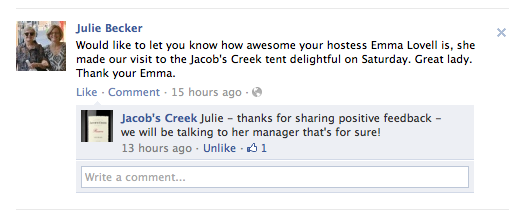 jacobs creek feedback
