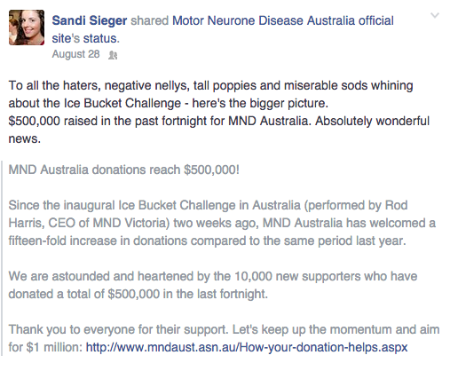 Sandi Sieger - Facebook Status